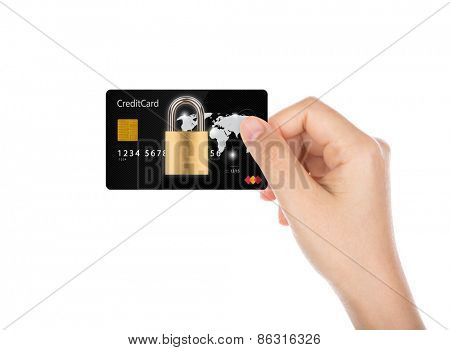 Business security concept : Women hand holding credit card with Padlock isolated on white background