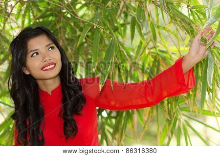 Asian woman in red Ao Dai traditional dress posing under a bamboo tree
