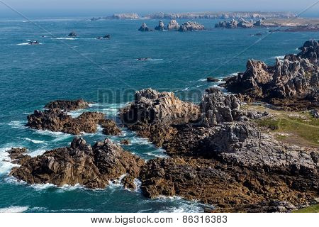 Ushant island dangerous and rocky coastline in France