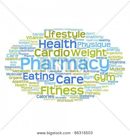 Vector concept or conceptual abstract health word cloud or wordc