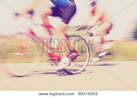 Bicycle race. Motion blur. Instagram effect.