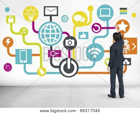 Global Communications Social Networking Business Planning Online Concept