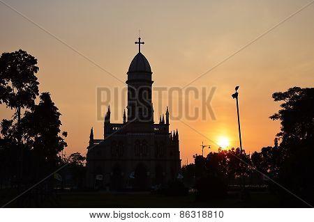 church on sunset