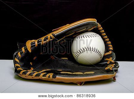 Slowpitch Softball Mitt And Ball