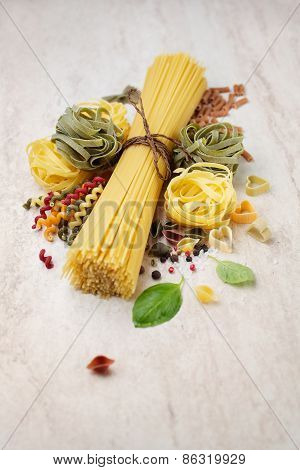 Assortment Of Italian Pasta, With Spices
