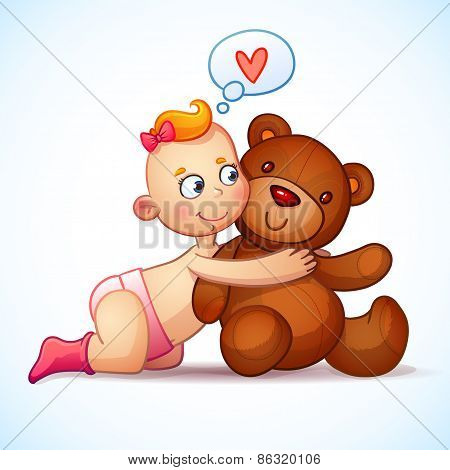 Baby girl redhead hugs Teddy Bear toy on a white background. Teddy plush toy. Little girl lovingly l