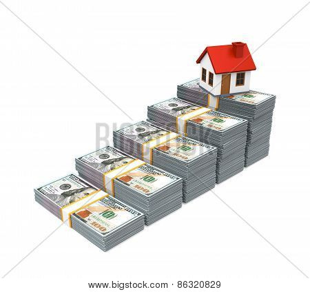 House Icon and Stacks of Dollar Bills