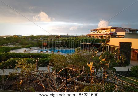 Beautiful resort surrounded by a natural landscape in the Galapagos Islands