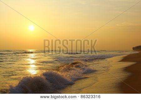 Beautiful sunset on the beach, Koggala, Sri Lanka