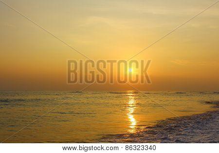 Beautiful sunset on the beach Koggala, Sri Lanka
