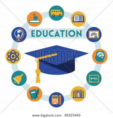 Education Related Vector Infographic, Flat Style