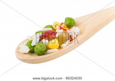 Vegetable Mix On Wooden Spoon