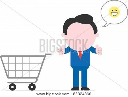 Happy Businessman Thumbs Up Beside Shopping Cart