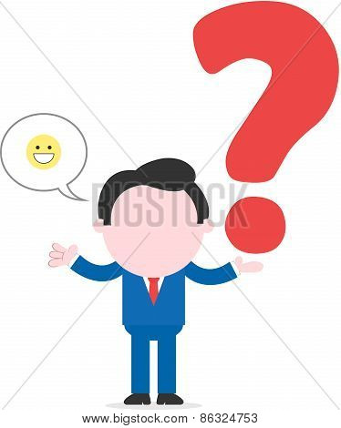 Businessman Holding Big Question Mark