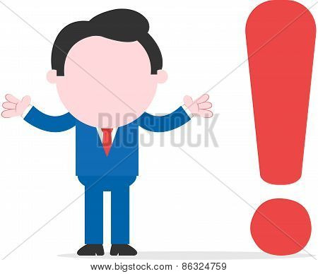Businessman Beside Exclamation Mark