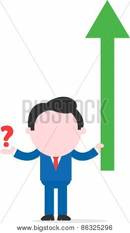 Businessman Holding Green Arrow And Showing Question Mark