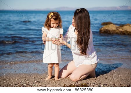 With Her Mom At The Beach