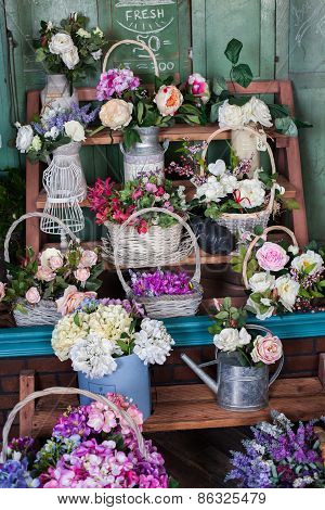 flower shop, peonies, roses, artificial flowers