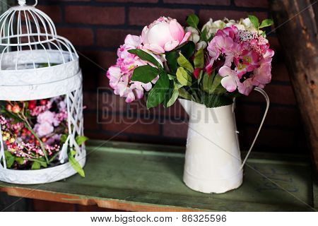 basket with artificial flowers, beautiful Provence