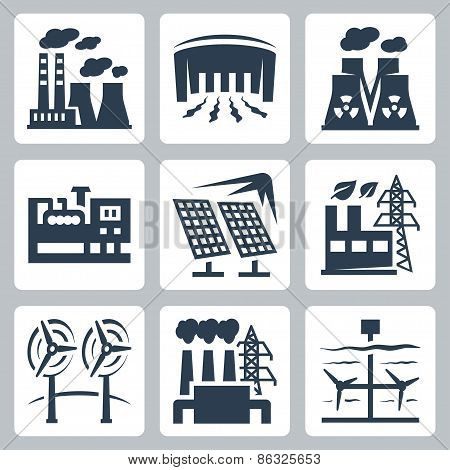 Power Plants Vector Icons Set