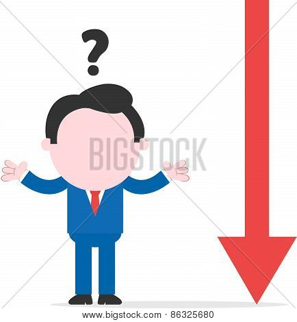 Confused Businessman Beside Red Arrow Pointing Down