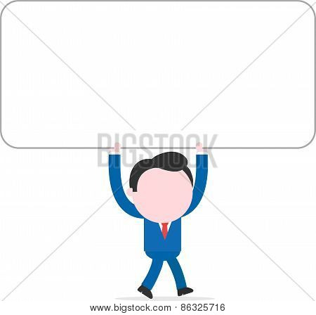Businessman Walking And Holding Overhead Wide Blank Banner