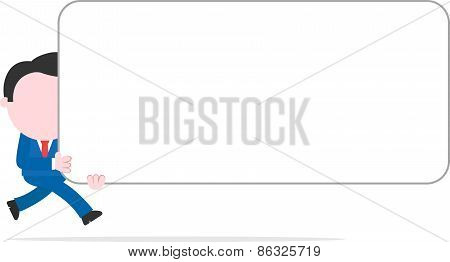 Businessman Running And Holding Wide Blank Banner