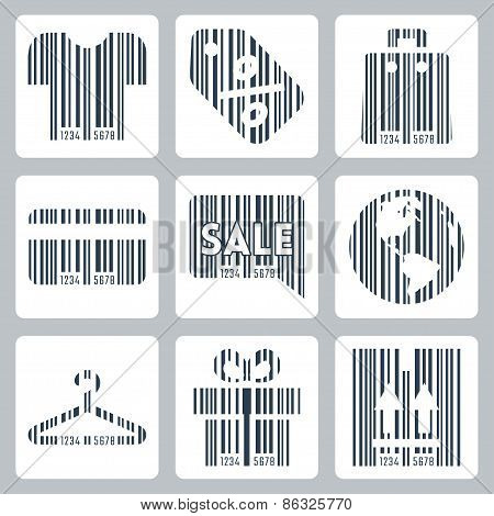 Shopping Related Concept Icons Set , Barcode Style