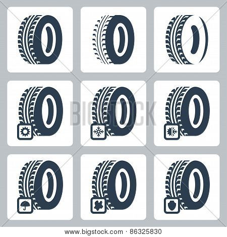 Tires Related Vector Icons Set