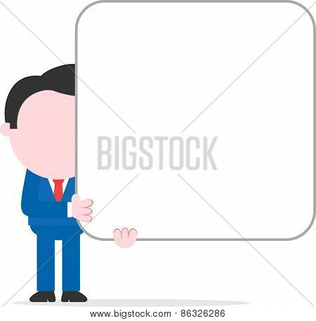 Businessman Holding Big Blank Square Banner