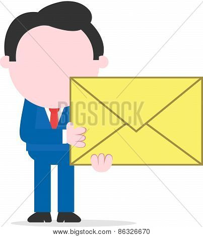 Businessman Holding Mail Icon