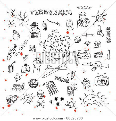 Hand Drawn terrorism doodles with blood splatters