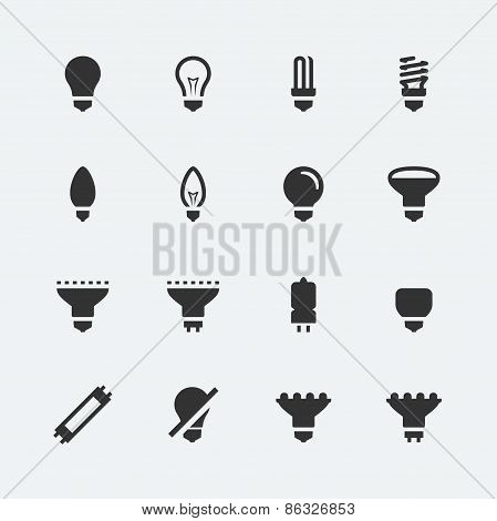 Bulb Shapes And Types Vector Icons Set