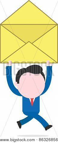 Businessman Running And Holding Open Mail Icon