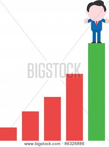 Businessman Standing On Green Bar Chart