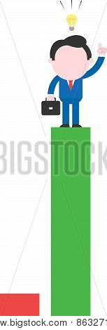 Businessman Standing On Tall Green Bar And With An Idea