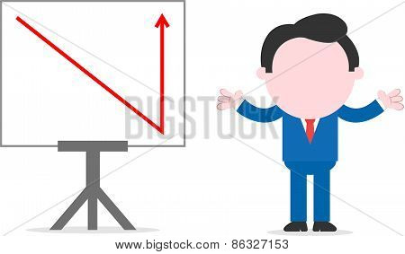 Businessman Beside Chart With Arrow Is Suddenly Down And Up