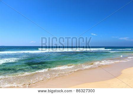 The Koggala beach on the Indian ocean