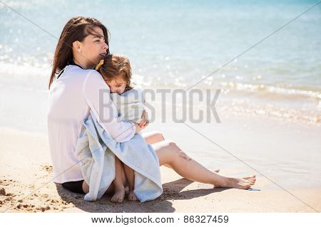 Cold Little Girl At The Beach