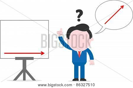 Confused Businessman Beside Chart Thinking About Arrow Up