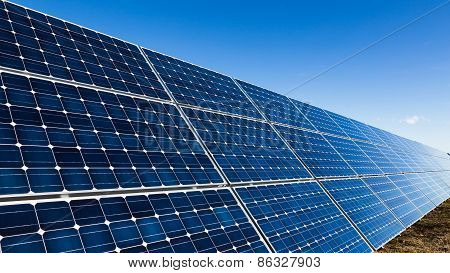 Big Solar Panels And Clear Sky