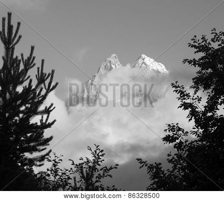 Mount Ushba - Balck-and-white Photo