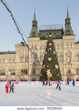 Skating Rink During The Christmas Holidays