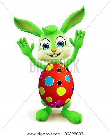Easter Bunny With Colourful Eggs Saying Hi Pose