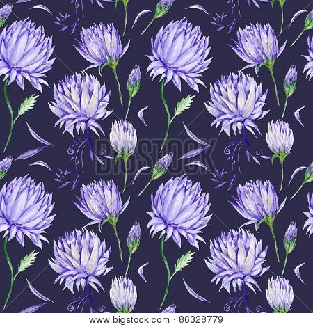 Dark Romantic Pattern with Purple Flowers