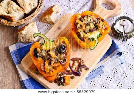 Lentils With Roasted Vegetables In Paprika