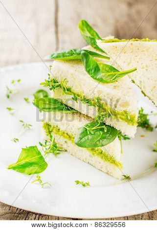 Toast with avocado paste and watercress