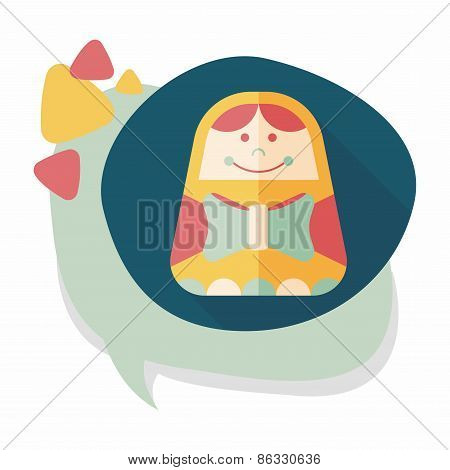 Russian Doll Flat Icon With Long Shadow,eps 10