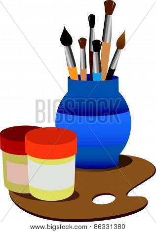Artistic palette with  tassels, vector illustration
