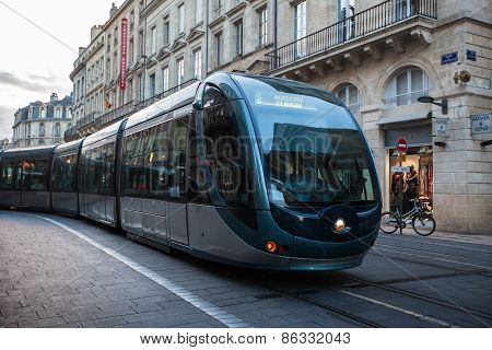 Tram In The Center Of Bordeaux In France